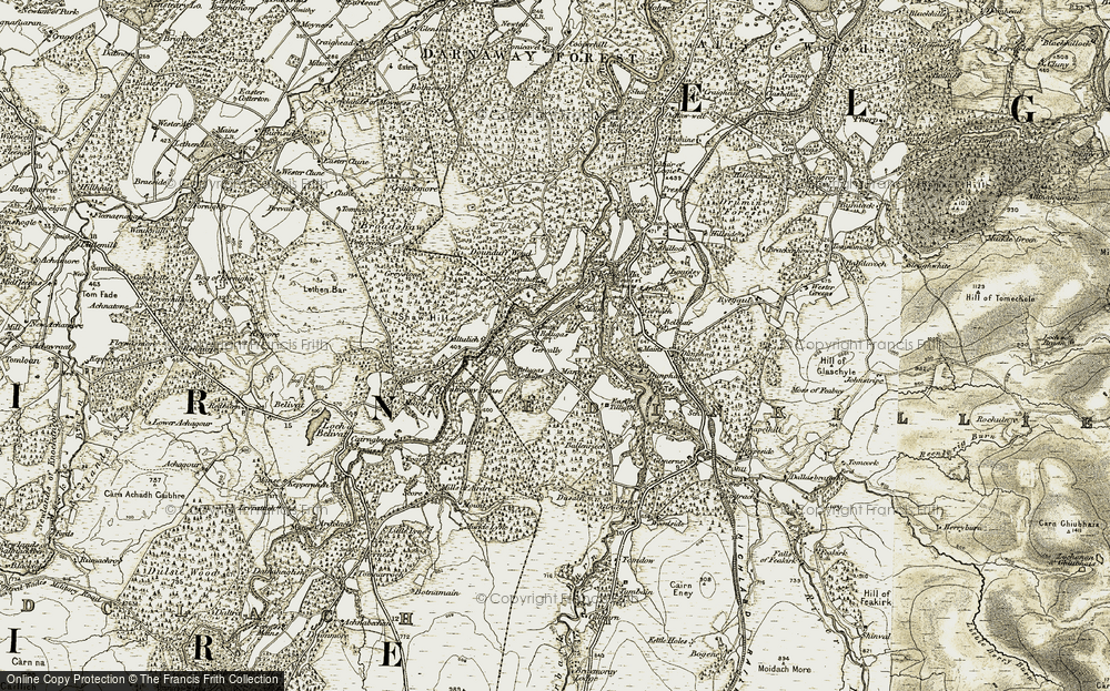 Old Map of Historic Map covering Auchnagairn in 1910-1911
