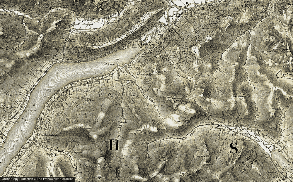 Old Map of Historic Map covering Acharn Burn in 1906-1908
