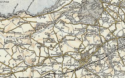 Old map of Reskadinnick in 1900