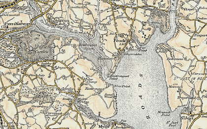Old map of Restronguet Passage in 1900