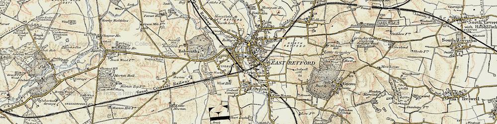 Old map of Retford in 1902-1903