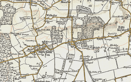 Old map of Revesby in 1902-1903