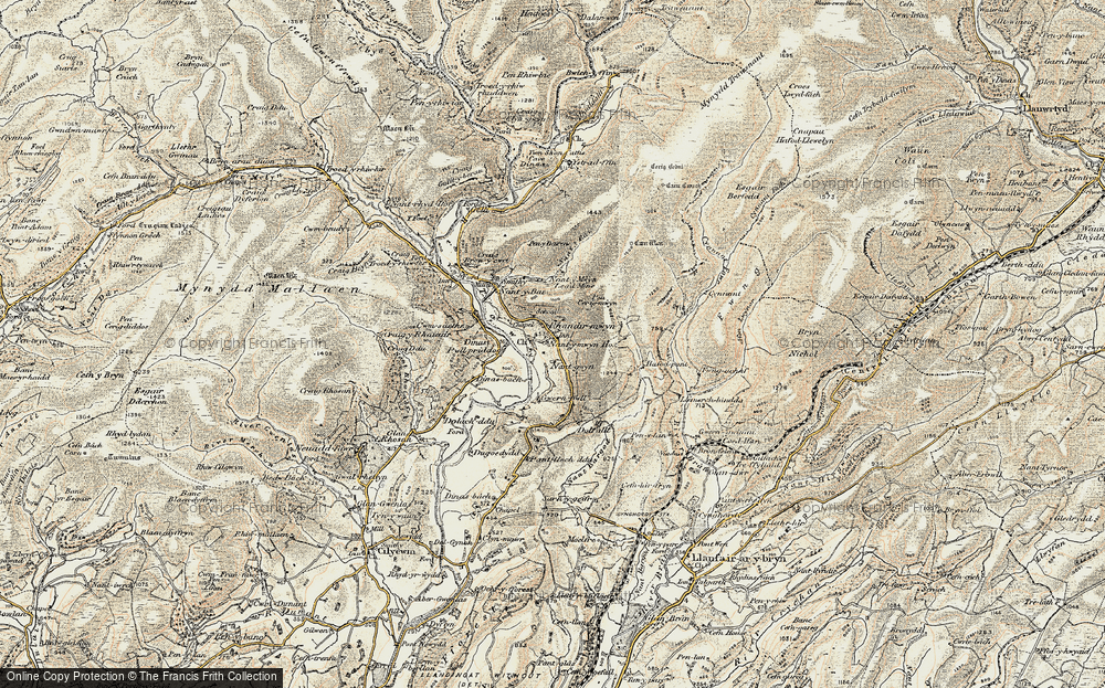 Old Map of Historic Map covering Afon Lwynor in 1900-1902