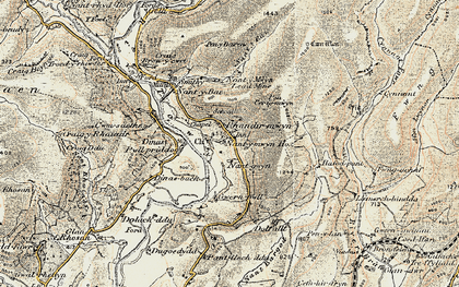 Old map of Afon Lwynor in 1900-1902