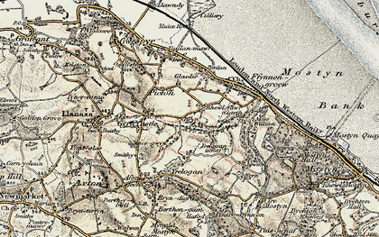 Old map of Afon y Garth in 1902-1903
