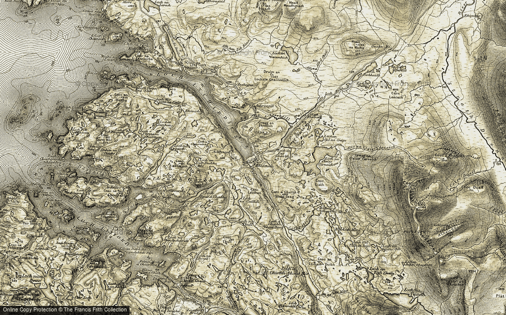 Old Map of Historic Map covering Achriesgill Water in 1910