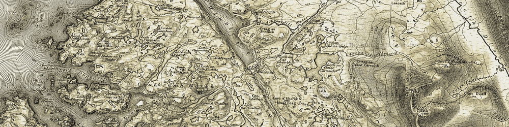 Old map of Achriesgill Water in 1910