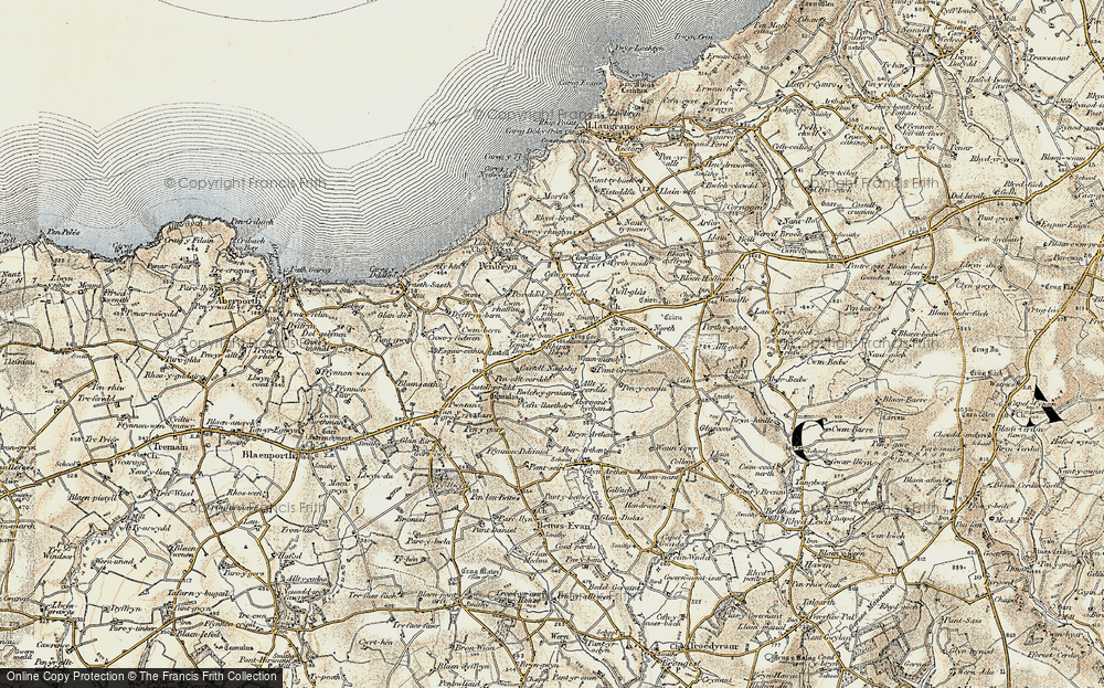 Old Map of Historic Map covering Allt y corde in 1901