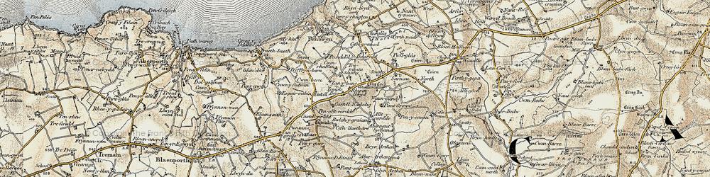 Old map of Allt y corde in 1901