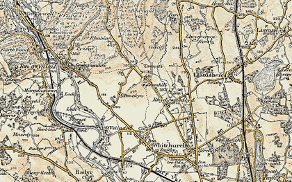 Old map of Rhiwbina in 1899-1900