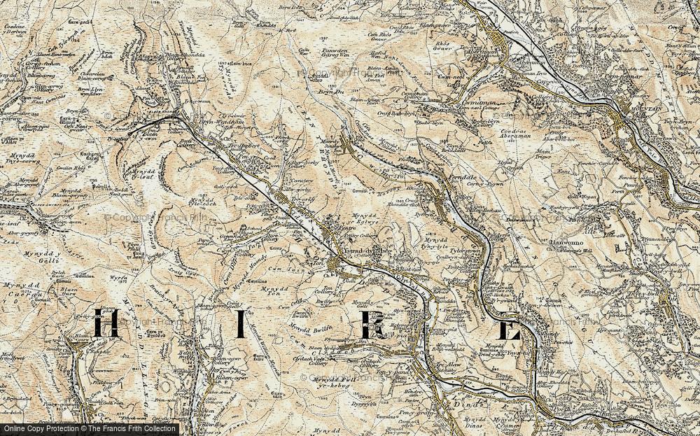 Old Map of Rhondda, 1899-1900 in 1899-1900