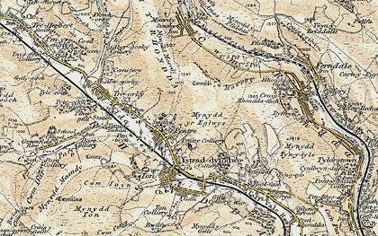 Old map of Rhondda in 1899-1900