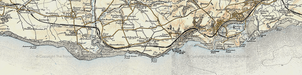 Old map of Rhoose in 1899-1900