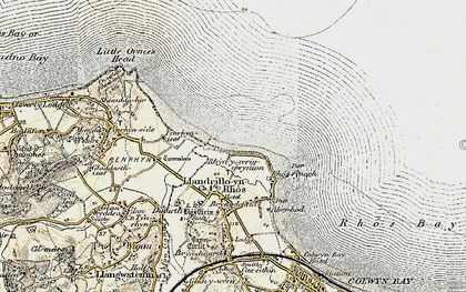 Old map of Rhôs-on-Sea in 1902-1903
