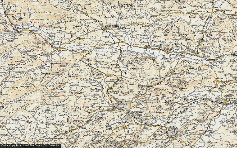 Old Map of Historic Map covering Aber Rhaeadr in 1902-1903