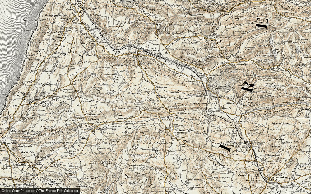 Old Map of Historic Map covering Abernac in 1901-1903
