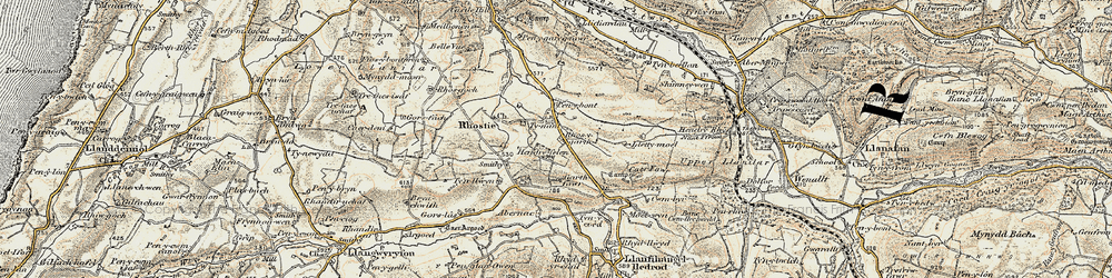 Old map of Abernac in 1901-1903