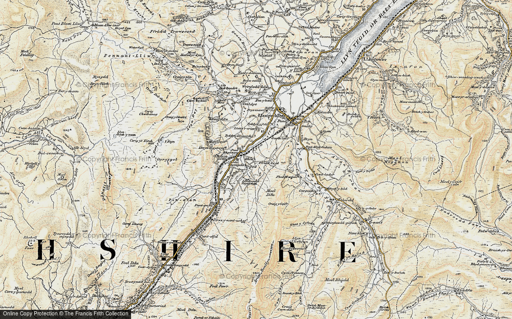 Old Map of Historic Map covering Afon Dyfrdwy in 1903