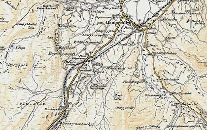 Old map of Afon Dyfrdwy in 1903