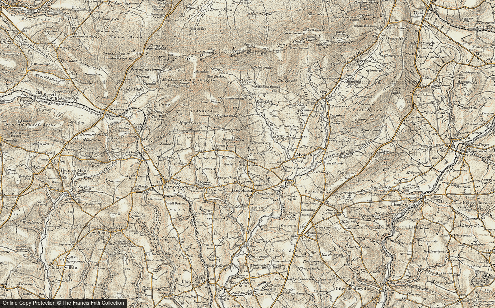 Old Map of Historic Map covering Afon Wern in 1901