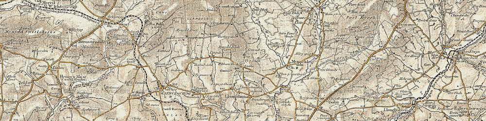 Old map of Afon Wern in 1901