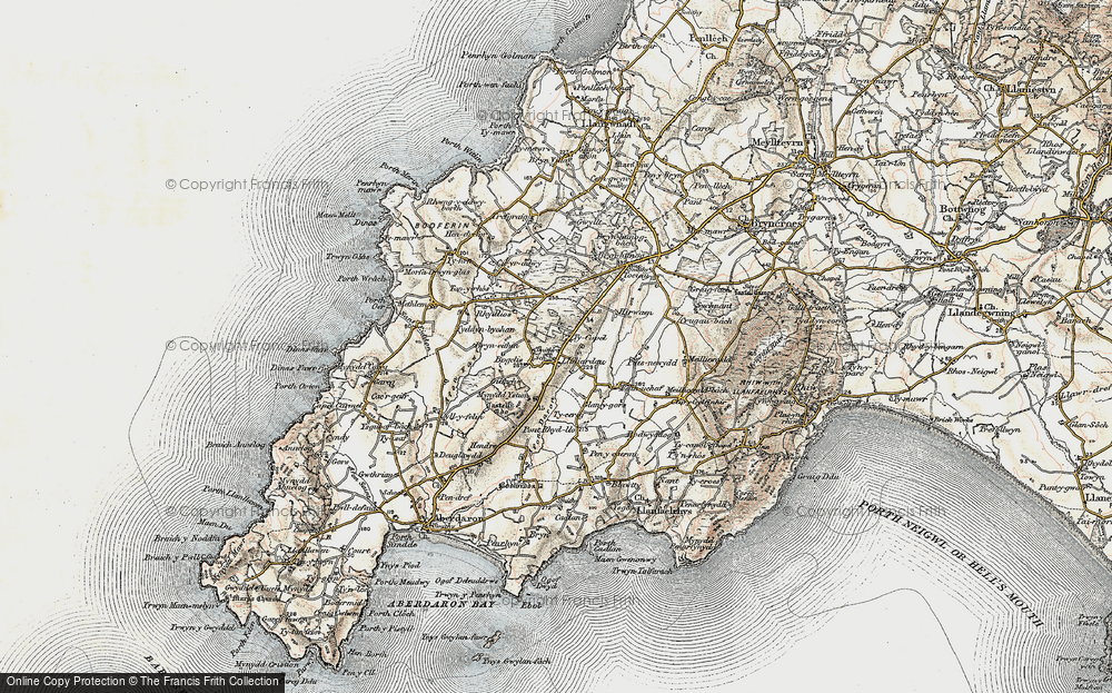 Old Map of Historic Map covering Afon Daron in 1903