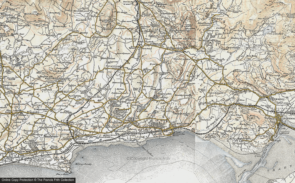 Old Map of Historic Map covering Afon Dwyfor in 1903