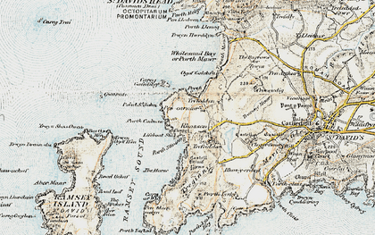 Old map of Whitesands Bay Porth-mawr in 0-1912