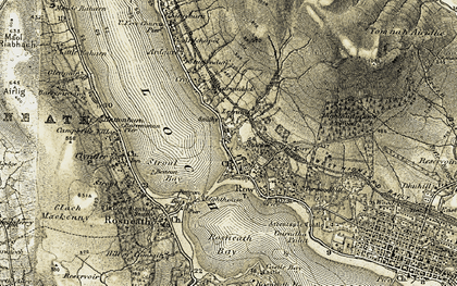 Old map of Rhu in 1905-1907