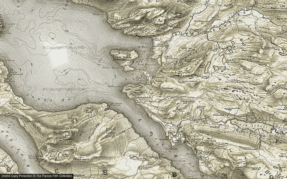Old Map of Historic Map covering Àird na h-Eighe in 1908-1910