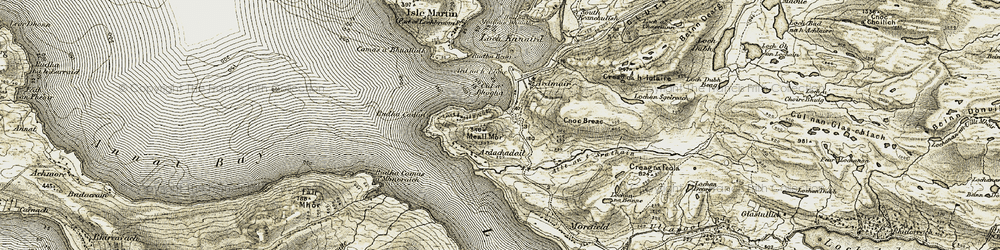 Old map of Àird na h-Eighe in 1908-1910