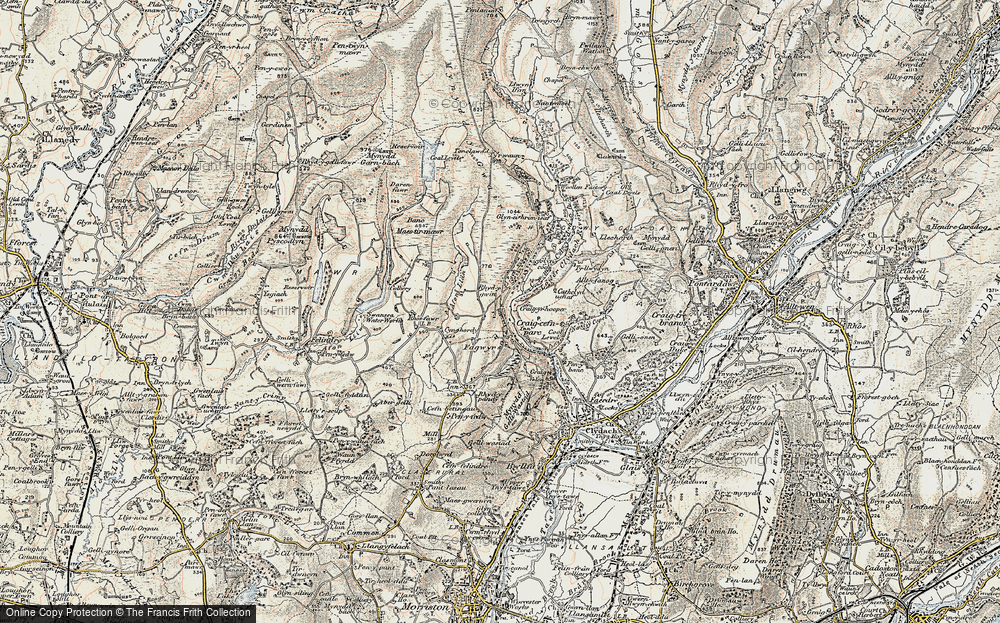 Old Map of Historic Map covering Banc Maestir-mawr in 1900-1901