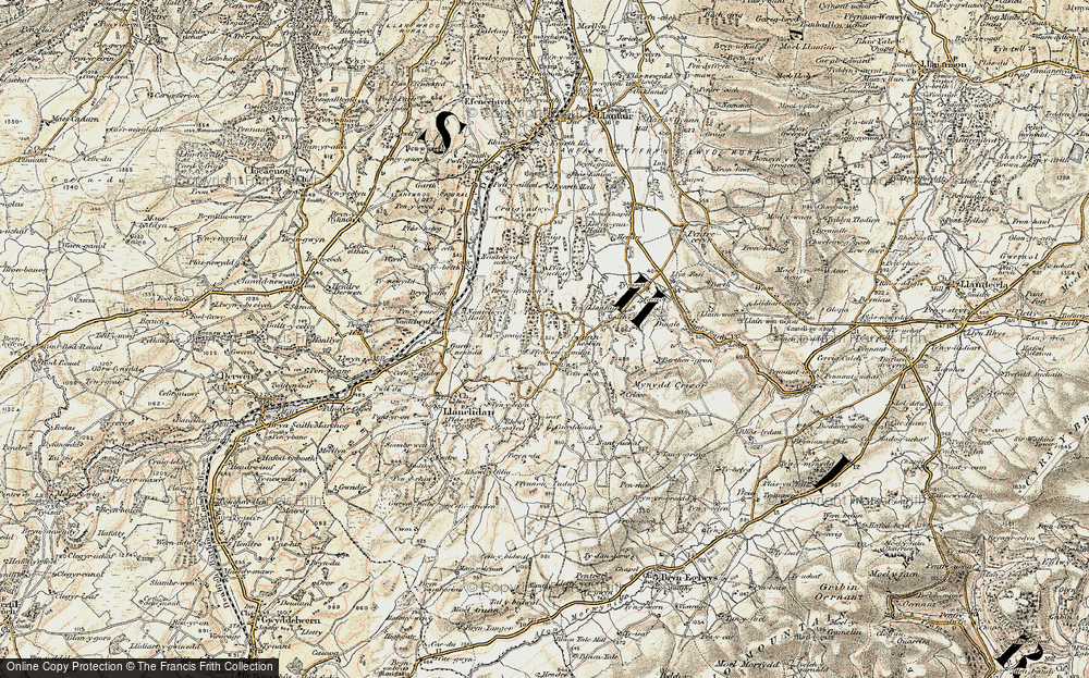 Old Map of Historic Map covering Afon Hesbin in 1902-1903