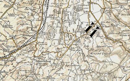 Old map of Afon Hesbin in 1902-1903