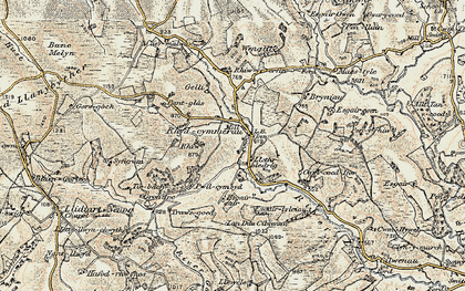 Old map of Afon Gorlech in 1900-1902
