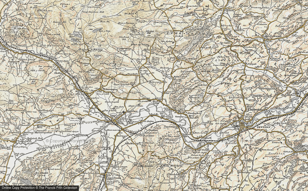 Old Map of Historic Map covering Aberhafesp in 1902-1903