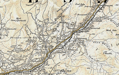 Old map of Afon Eiddon in 1902-1903