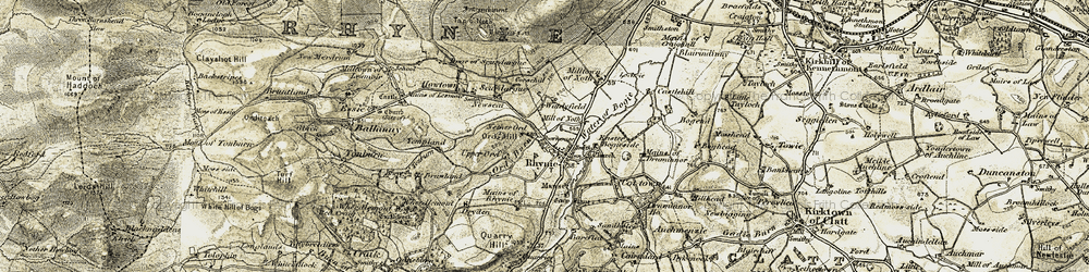 Old map of Rhynie in 1908-1910