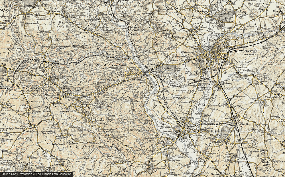 Old Map of Ribbesford, 1901-1902 in 1901-1902