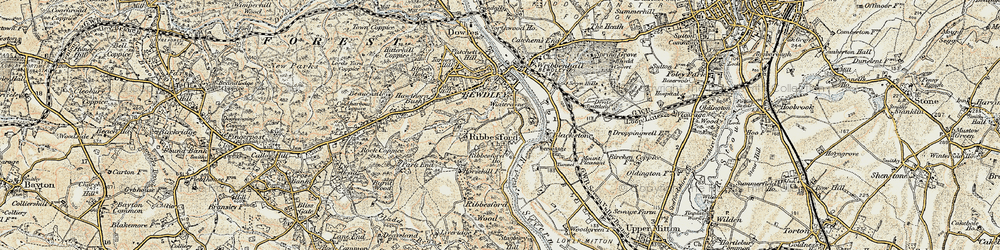 Old map of Ribbesford in 1901-1902