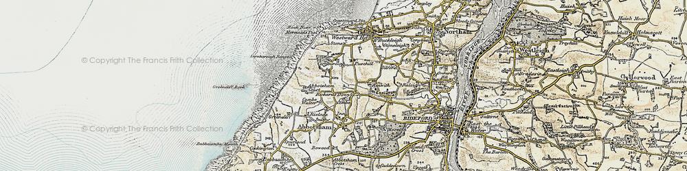 Old map of Abbotsham Court in 1900