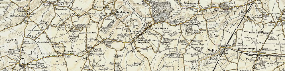 Old map of Rickinghall in 1901
