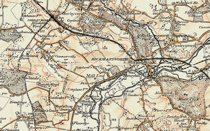 Old map of Rickmansworth in 1897-1898