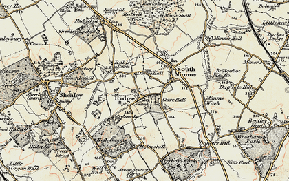 Old map of Ridge in 1897-1898