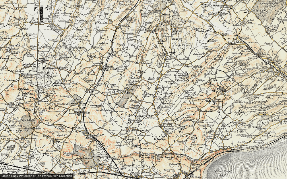 Old Map of Historic Map covering Acrise Place in 1898-1899