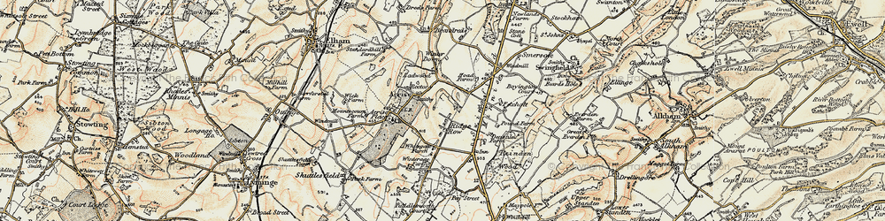 Old map of White Gate in 1898-1899
