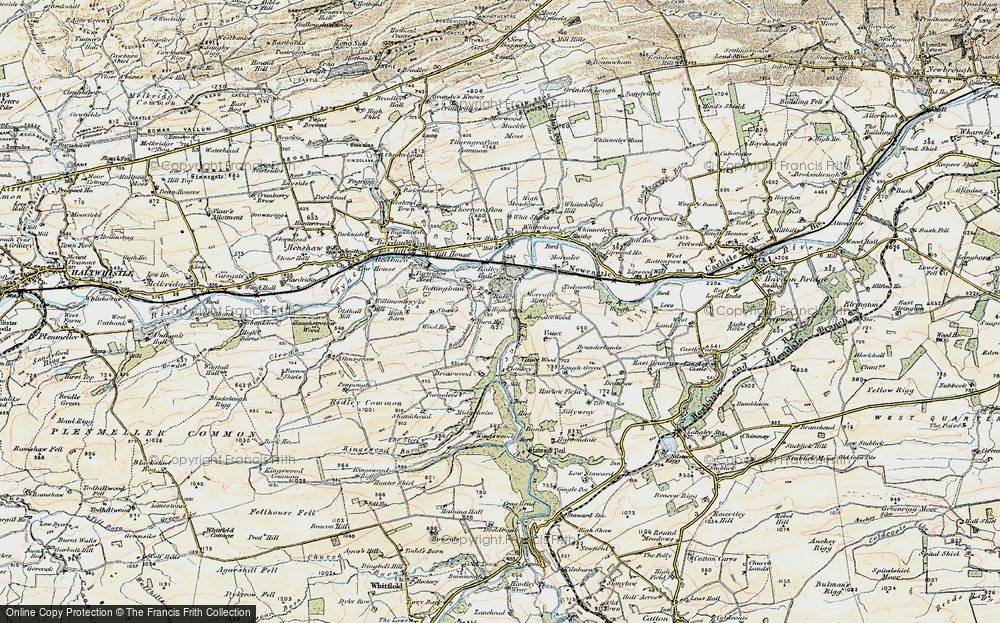 Old Map of Historic Map covering Lees Heugh in 1901-1904