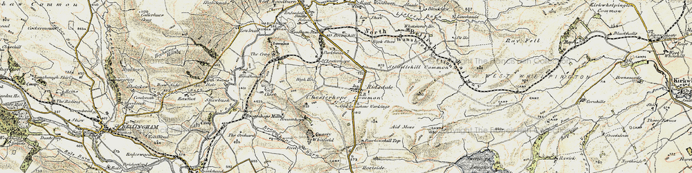 Old map of Whitfield in 1901-1903