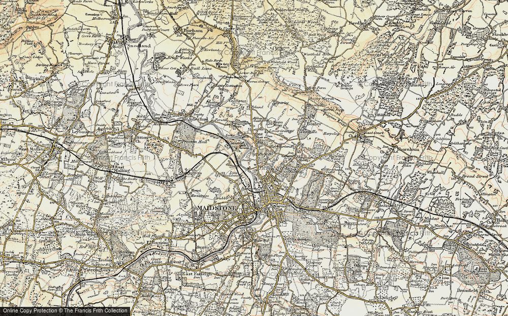 Old Map of Historic Map covering Allington Castle in 1897-1898