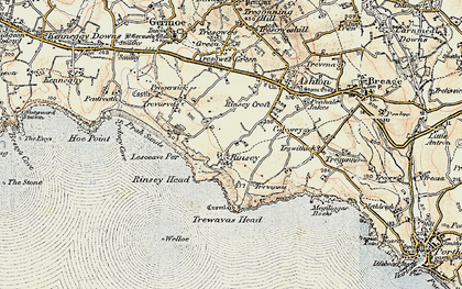 Old map of Rinsey in 1900